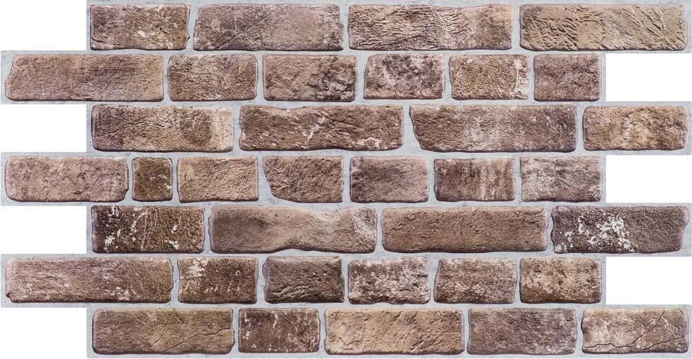 3D obkladový panel na zeď D0007 cihly béžovohnědé / 3D stěnové obkladové panely PVC (935 x 469 mm)