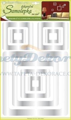 Samolepící zrcadlová dekorace (49,5x29x0,4cm) Room Decor 3D čtverce 1097