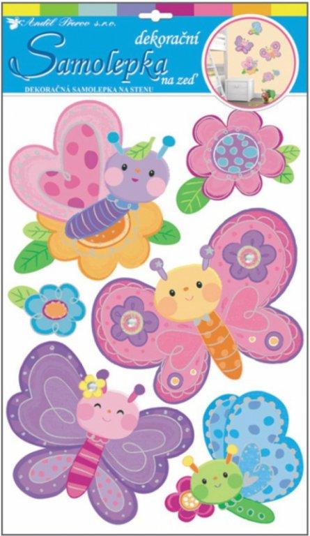 Samolepky na zeď 3D motýlci z tvrdého papíru 10123 /Samolepicí pokojová dekorace pro děti Room Decor (49 x 29 cm)