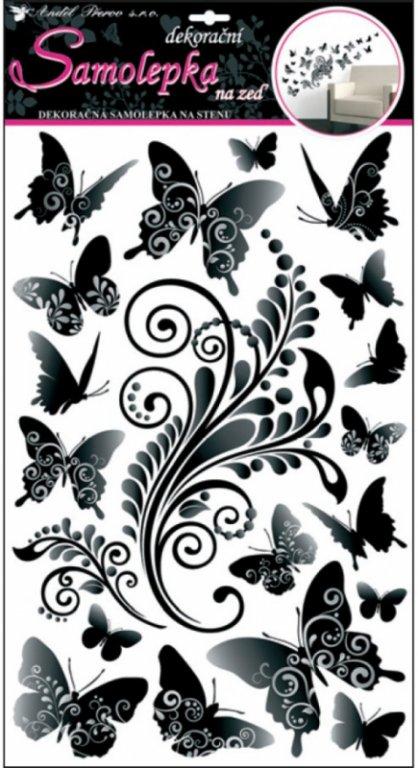 Samolepky na zeď černošedí motýlci 10147 / Samolepicí pokojová dekorace Room Decor (60 x 32 cm)