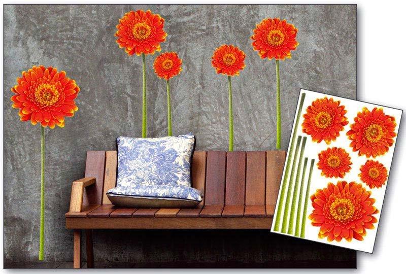 Samolepicí dekorace na zeď Červená gerbera ST1 012 / Samolepka na stěnu (50 x 70 cm) Dimex