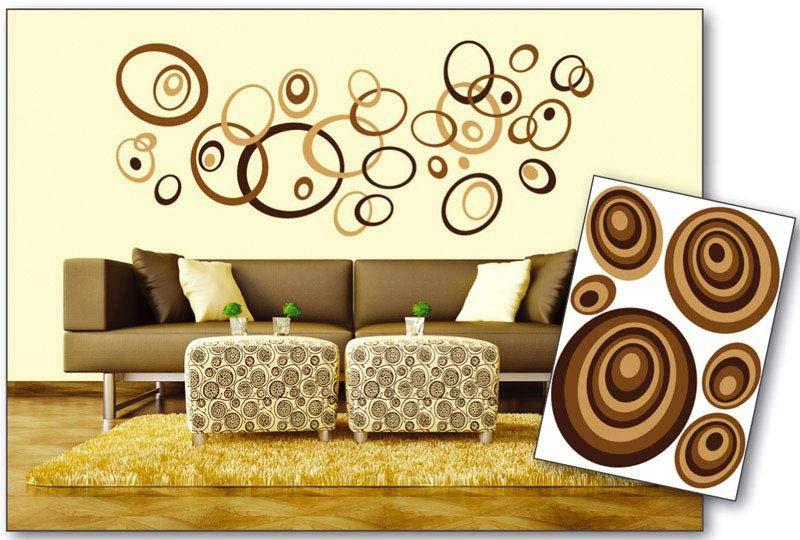 Samolepicí dekorace na zeď Hnědé ovály ST1 019 / Samolepka na stěnu Brown Circles (50 x 70 cm) Dimex