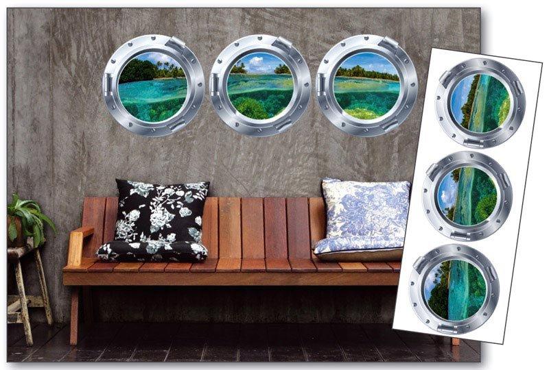 Samolepicí dekorace na zeď Kruhové okno ST2 013 / Samolepka na stěnu Porthole (65 x 165 cm) Dimex