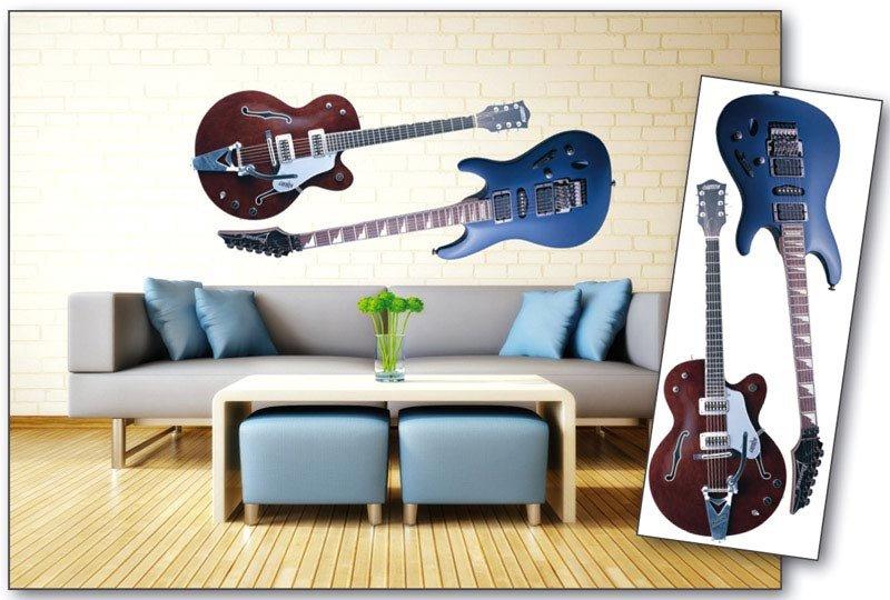 Samolepicí dekorace na zeď Kytary ST2 004 / Samolepka na stěnu Guitars (65 x 165 cm) Dimex