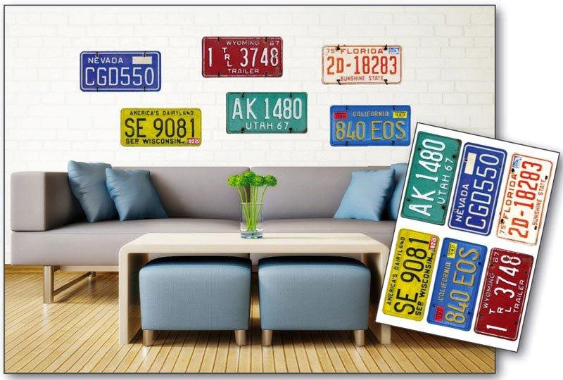 Samolepicí dekorace na zeď Poznávací značky ST1 008 / Samolepka na stěnu Plate Numbers (50 x 70 cm) Dimex