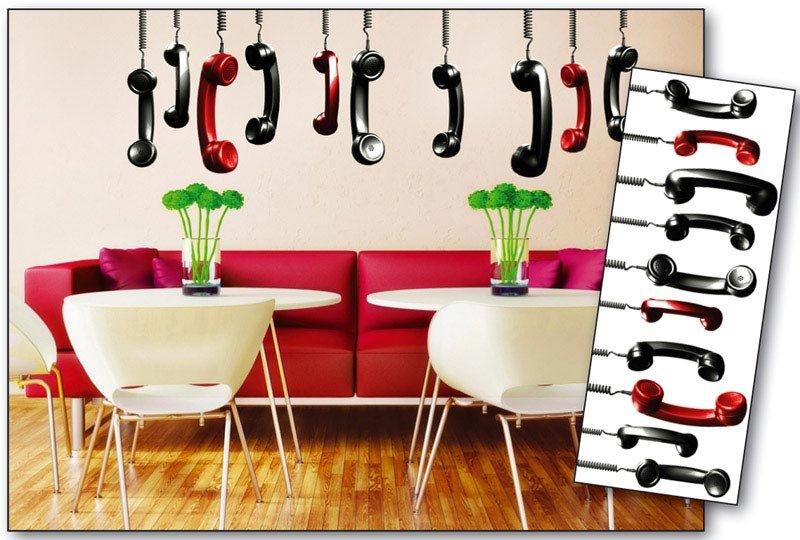Samolepicí dekorace na zeď Telefonní sluchátka ST2 012 / Samolepka na stěnu Phone Receivers (65 x 165 cm) Dimex