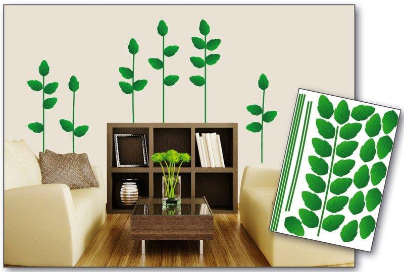 Samolepicí dekorace na zeď Zelené listy ST1 014 / Samolepka na stěnu Green Plant (50 x 70 cm) Dimex