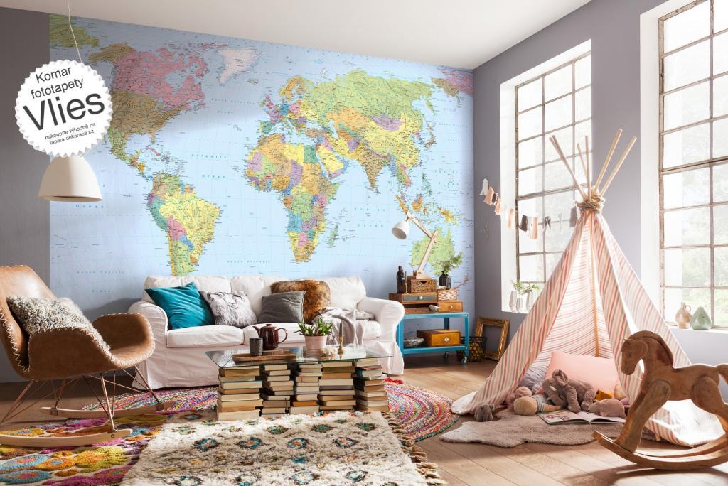 Vliesov fototapeta 4 d ln mapa sv ta xxl4 038 vliesov for Carta da parati geografica